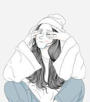 donna che piange e delusa vettore