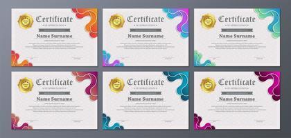 certificato moderno gradiente forma astratta di set di realizzazione