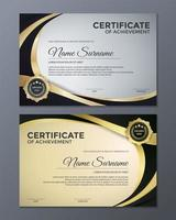 certificato metallico dorato del set di risultati