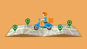 uomo di consegna su scooter in sella sulla mappa con perni vettore