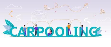 persone che utilizzano l'applicazione di carsharing online vettore