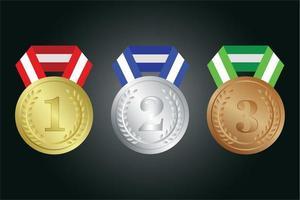 set di medaglie d'oro, d'argento e di bronzo vettore