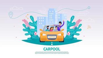 felice compagnia di persone in auto, carpool vettore