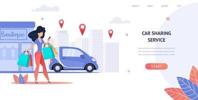 lo shopping donna noleggia un'auto utilizzando l'applicazione mobile vettore