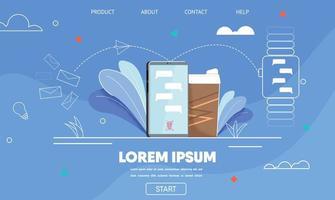 modello piatto pagina di destinazione per messenger mobile