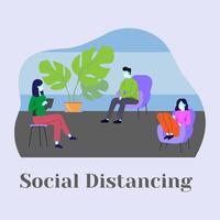 tre persone di distanza sociale