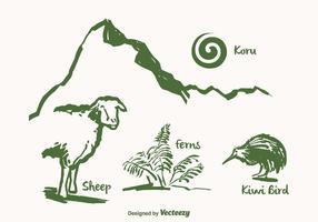 Punti di riferimento vettoriali disegnati in Nuova Zelanda gratis