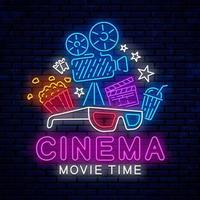 insegna al neon luminosa del cinema con gli occhiali 3d