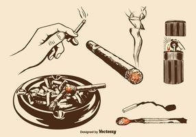 set vettoriale di fumanti di masterizzazione