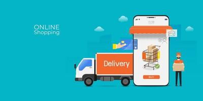 shopping online app mobile con camion e uomo di consegna vettore