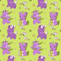 simpatici piccoli unicorni su un modello di prato vettore