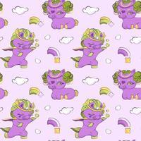 simpatici piccoli unicorni viola in amore seamless vettore