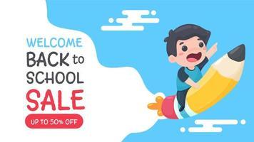 banner sconto cartoleria per la vendita a scuola vettore