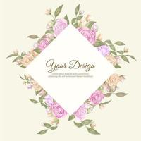 modello di invito rosa elegante con forma di cornice di diamante vettore