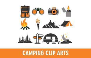 set di icone campeggio