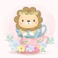 leone in una tazza vettore