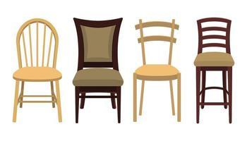 sedie di legno su bianco vettore