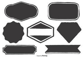 Etichette disegnate a mano in bianco vettore