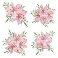 collezione bouquet di fiori di giglio rosa dell'acquerello vettore