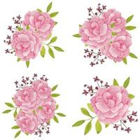 insieme del mazzo del fiore peonia dell'acquerello dipinto a mano