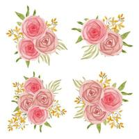 collezione di bouquet floreale di rose dell'acquerello vettore