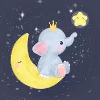 elefantino sulla luna vettore