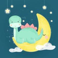 dinosauro bambino seduto sulla luna vettore