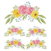 insieme del mazzo curvo fiore peonia giallo e rosa dell'acquerello