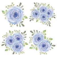 insieme di disposizione dei fiori rosa viola dell'acquerello dell'annata vettore