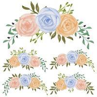 insieme di disposizione dei fiori di rosa pastello dipinto a mano dell'acquerello vettore