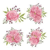 insieme di stile dell'acquerello dell'annata della decorazione del fiore di rosa
