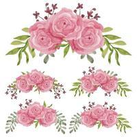 raccolta dell'acquerello dell'annata delle rose rosa decorazione floreale vettore