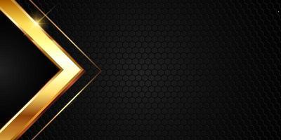 trama metallica oro su modello esagonale vettore
