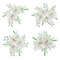 collezione bouquet di fiori di giglio bianco dell'acquerello vettore