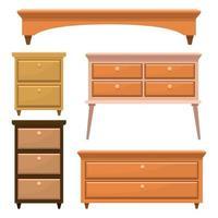 mobili camera da letto in legno retrò vettore