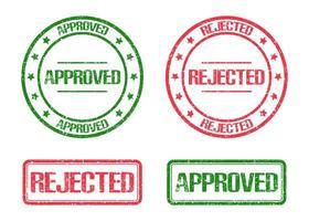 marchio di bollo approvato e respinto isolato su sfondo bianco