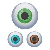 set bulbo oculare isolato su sfondo bianco vettore