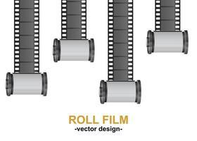 rotolo di pellicola della fotocamera isolato su sfondo bianco vettore