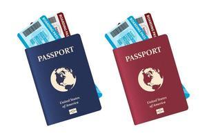 passaporto con biglietti aerei all'interno isolato su sfondo bianco