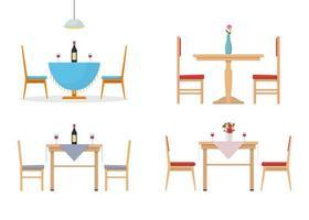 set tavolo da pranzo isolato su sfondo bianco vettore