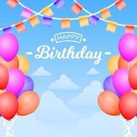 carta di buon compleanno con palloncini e stamina bandiera vettore