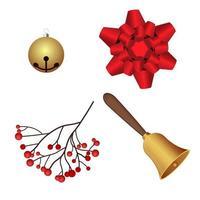 set di campane di decorazioni natalizie vettore