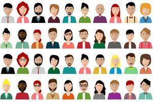 set di avatar di persone colorate vettore