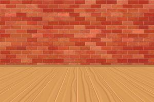 stanza vuota con muro di mattoni e pavimento in legno vettore