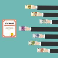 mani dell'uomo acquisto diploma con euro