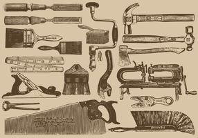 Strumenti di falegnameria vintage vettore