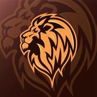 vista laterale della mascotte testa di leone vettore