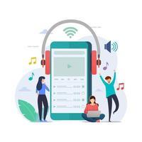 progettazione di playlist musicali online vettore