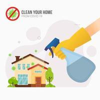 spruzzare disinfettante in casa per la prevenzione