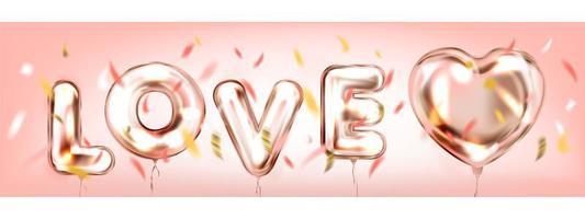 amore in un banner romantico rosa aria vettore